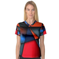 3d And Abstract Women s V-Neck Sport Mesh Tee