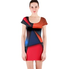 3d And Abstract Short Sleeve Bodycon Dress