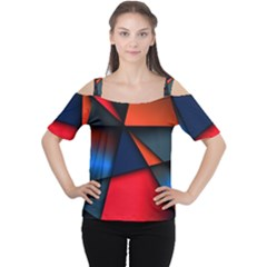 3d And Abstract Women s Cutout Shoulder Tee