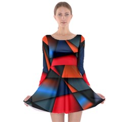 3d And Abstract Long Sleeve Skater Dress
