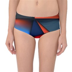 3d And Abstract Mid-Waist Bikini Bottoms