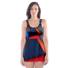 3d And Abstract Skater Dress Swimsuit