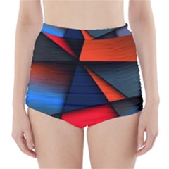 3d And Abstract High-Waisted Bikini Bottoms