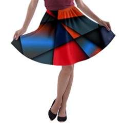 3d And Abstract A Line Skater Skirt