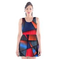 3d And Abstract Scoop Neck Skater Dress