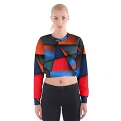 3d And Abstract Women s Cropped Sweatshirt