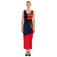 3d And Abstract Fitted Maxi Dress