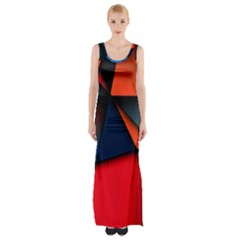 3d And Abstract Maxi Thigh Split Dress