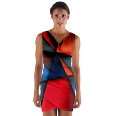 3d And Abstract Wrap Front Bodycon Dress