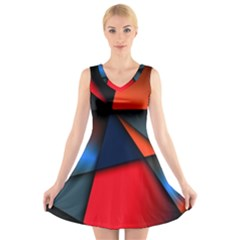 3d And Abstract V-Neck Sleeveless Skater Dress