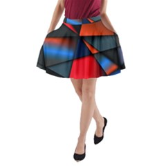 3d And Abstract A-Line Pocket Skirt