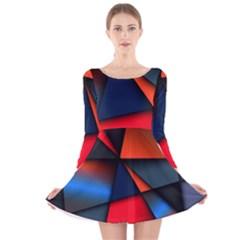 3d And Abstract Long Sleeve Velvet Skater Dress
