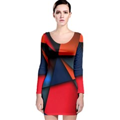 3d And Abstract Long Sleeve Velvet Bodycon Dress