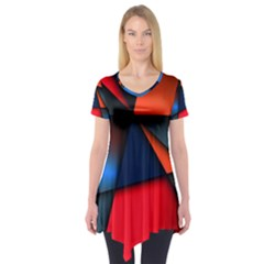 3d And Abstract Short Sleeve Tunic