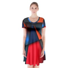 3d And Abstract Short Sleeve V-neck Flare Dress