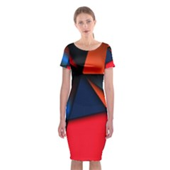 3d And Abstract Classic Short Sleeve Midi Dress