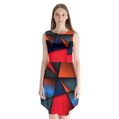 3d And Abstract Sleeveless Chiffon Dress