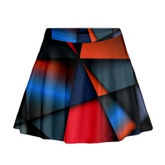 3d And Abstract Mini Flare Skirt