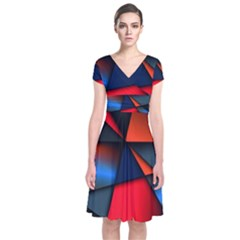 3d And Abstract Short Sleeve Front Wrap Dress