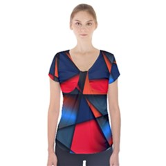 3d And Abstract Short Sleeve Front Detail Top