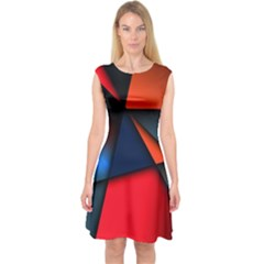 3d And Abstract Capsleeve Midi Dress