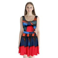3d And Abstract Split Back Mini Dress