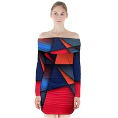 3d And Abstract Long Sleeve Off Shoulder Dress
