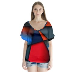 3d And Abstract Flutter Sleeve Top