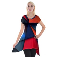 3d And Abstract Short Sleeve Side Drop Tunic