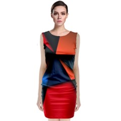 3d And Abstract Sleeveless Velvet Midi Dress