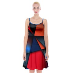 3d And Abstract Spaghetti Strap Velvet Dress