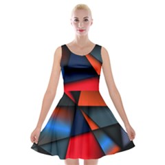 3d And Abstract Velvet Skater Dress