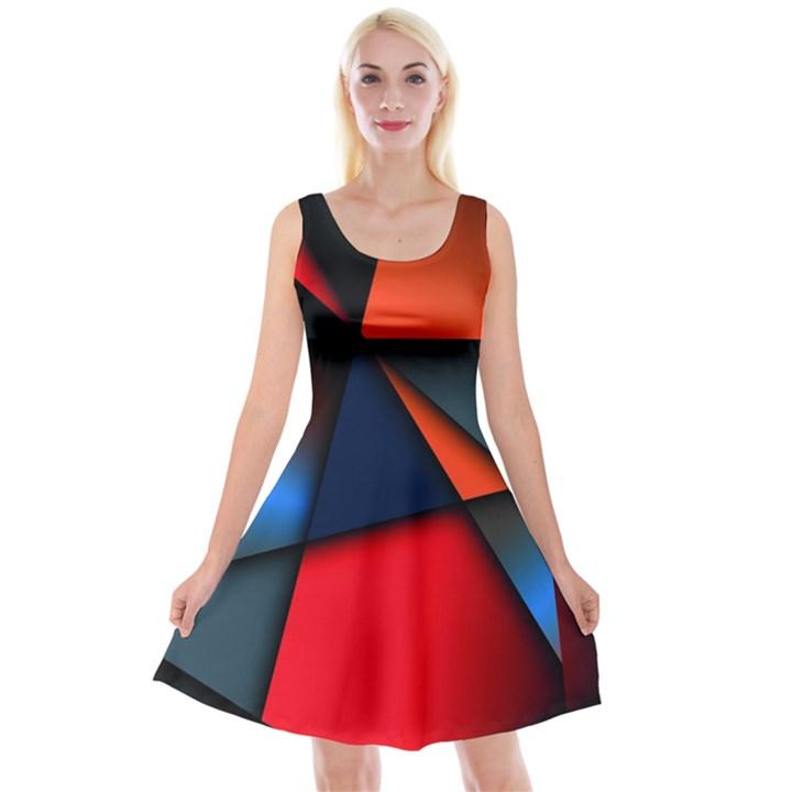 3d And Abstract Reversible Velvet Sleeveless Dress