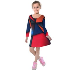 3d And Abstract Kids  Long Sleeve Velvet Dress