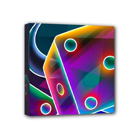 3d Cube Dice Neon Mini Canvas 4  x 4