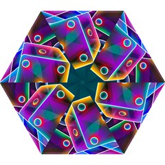 3d Cube Dice Neon Mini Folding Umbrellas