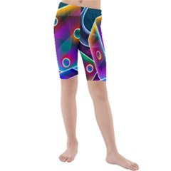 3d Cube Dice Neon Kids  Mid Length Swim Shorts