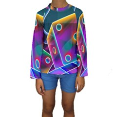 3d Cube Dice Neon Kids  Long Sleeve Swimwear