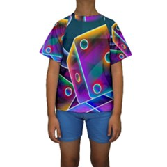 3d Cube Dice Neon Kids  Short Sleeve Swimwear