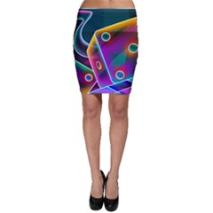 3d Cube Dice Neon Bodycon Skirt