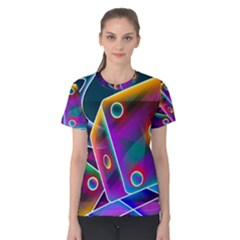 3d Cube Dice Neon Women s Cotton Tee