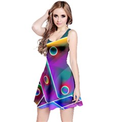 3d Cube Dice Neon Reversible Sleeveless Dress
