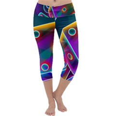 3d Cube Dice Neon Capri Yoga Leggings
