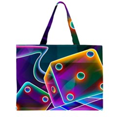 3d Cube Dice Neon Large Tote Bag