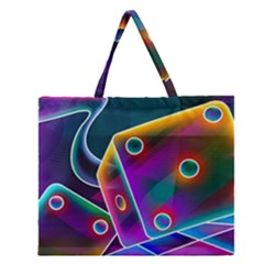 3d Cube Dice Neon Zipper Large Tote Bag