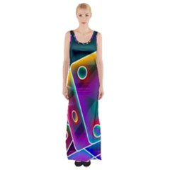 3d Cube Dice Neon Maxi Thigh Split Dress