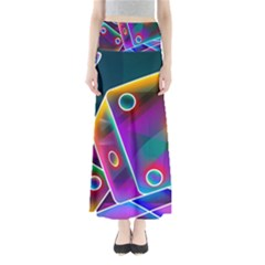 3d Cube Dice Neon Maxi Skirts