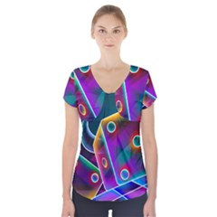 3d Cube Dice Neon Short Sleeve Front Detail Top