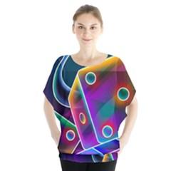 3d Cube Dice Neon Blouse