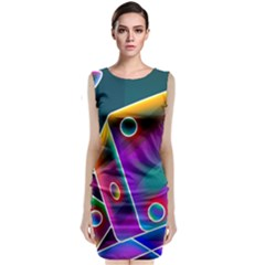 3d Cube Dice Neon Sleeveless Velvet Midi Dress